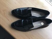 River Island Black Patent Loafers Size 6