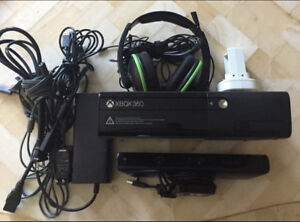 Xbox 360, Kinect, Charger, Headset $80 OBO