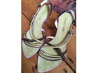 Green summer kitten heel sandals