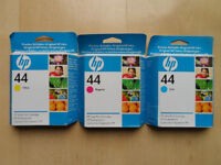 GENUINE HP 44 INK CARTRIDGES CYAN YELLOW MAGENTA X3 NEW & BOXED