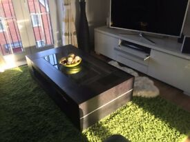 Solid heavy Wood and Glass coffee table and side table