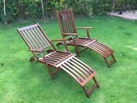 Reclining hard wood folding wooden deck steamers chairs