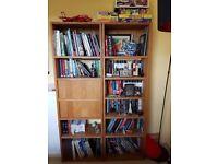 Set of 2 oak bookshelves (w/1 built-in desk)