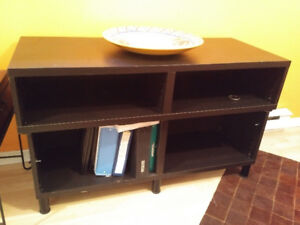 Dark wood solid shelving unit / TV stand