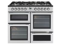 Brand New FLAVEL MLN10FRS Dual Fuel Range Cooker - Silver & Chrome GRADED RANGE Cooker Sale