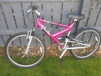 Ladies Teens Raleigh Siren full MBT suspension in vgc in purple and pink ombre