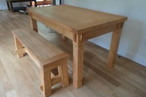 Hand-made dining table + bench