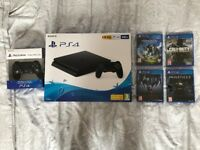BRAND NEW PS4 + BRAND NEW 4 games + BRAND NEW controller