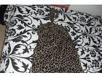 NEW SIZE 18/20 REVERSIBLE LONG HALTERNECK DRESS BLACK/ANIMAL PRINT