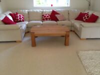 Cream leather sofa - flexible arrangement (Corner/L-shaped/U-shaped) Seats up to 8.