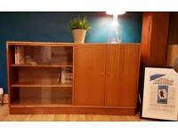 NEW LOW PRICE Mid-Century Teak Sideboard / Bookcase With Glass and Wooden Doors