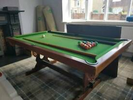 Snooker Dining Table comes with balls and ques