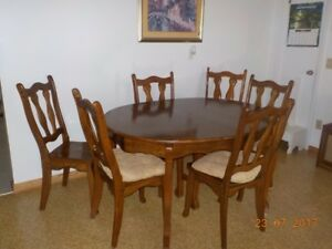 solid wood dining table with 6 chairs