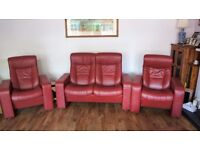 Red Leather Sofa and Two Armchairs