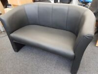 Black Faux Leather Office Reception Waiting Meeting Breakout Sofa Chair