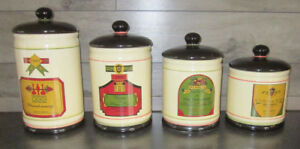 Kitchen Canisters Ceramic with Wine Label Motif