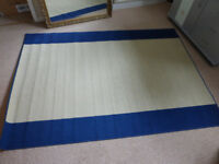 blue beige bathroom or kitchen rug