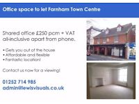 Office space to let Farnham Town Centre £250pcm + VAT