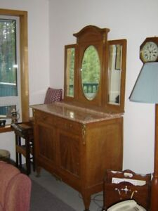 Antique marble top dining room sideboard