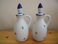 2 matching pretty blue & white ceramic oil, vinegar, etc bottles/ceramic stoppers.£5 ovno pr/£3 each