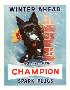 1950 full-page, large color print ad for Champion Spark Plugs