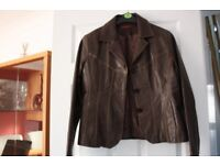 Leather Jacket, Ladies Leather Blazer, Classic Hip Length , Size M (12) , Worn Once ,