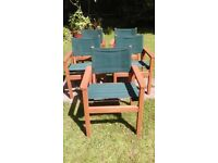 5 Garden Directors Chairs. Wood and canvas