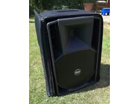 P A SPEAKERS RCF ART 412a x 2 including rcf covers, manuals & original packaging