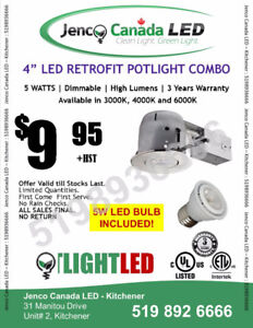 "LED POT LIGHT- 4"" POT+WHITE TRIM+5W COB DIMMABLE BULB"