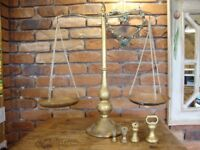 Traditional Brass And Copper Scales,With Set Of Four Imperial Bell Weights