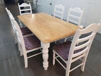 SHABBY CHIC FARMHOUSE SOLID WOOD DINING TABLE & 6 SIX CHAIRS BRAND NEW UPHOLSTERY FREE DELIVERY