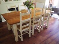 Fired Earth Dining Table and 6 Chairs