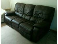 Leather sofa 3 seater Lazy Boy recliner