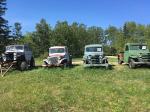 1952, 1951 and 1949 Willys Pickups and a Willys Wagon