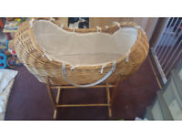 Rocking baby basket with stand (£30) or offers