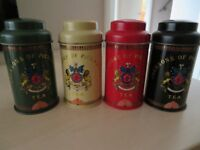 Vintage Jacksons of Piccadilly Tea Tins x 4, 4inches tall.
