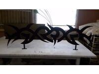 Bespoke 1 x large 3 x Medium tribal laser cut metal shop decoration