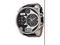 Diesel Men's 57mm Chrono Black Dual Display Leather Strap Big Daddy Watch - DZ7125