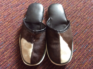 Cowhide Slippers, Size 8 1/2