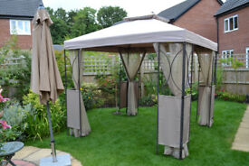 Gazebo 2.5metres square with curtain sides.