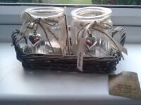 Unused Woodland Handmade Willow tray with 2 glass candle holders.