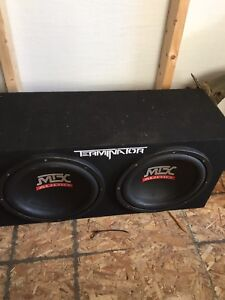 """2 12"""" mtx subwoofers w/ terminator amp touch screen deck"""