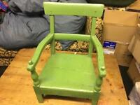 Child's painted green chair