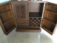 Thai Bar Hand Carved Cocktail Cabinet Furniture on wheels