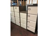 3 Draw Brown & Beige Metal Filing Cabinet