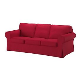 Cover three seat sofa EKTORP. Colour: nordvalla red; The cover is in very good condition