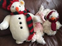 The snowman steiff, bunny, and Mary thought snowman