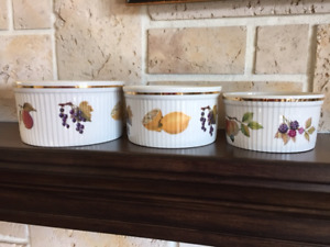 Set of three Royal Worcester Evesham Souffle Dishes