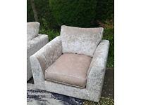 A New Designer Cream Crushed Velvet Arm Chair.