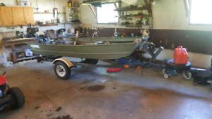 12 ft Jon boat with trailer and 15hp evenrude